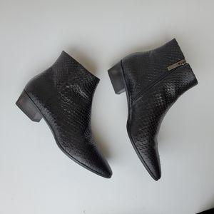 Aquatalia Fuoco Snake-Print Black Leather Booties